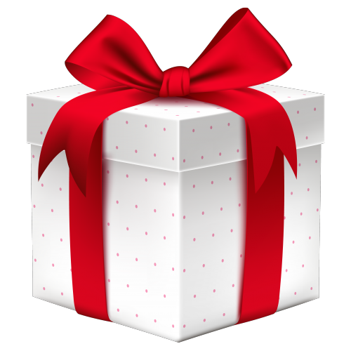 White Gift Box with Red Bow PNG Image 500x500